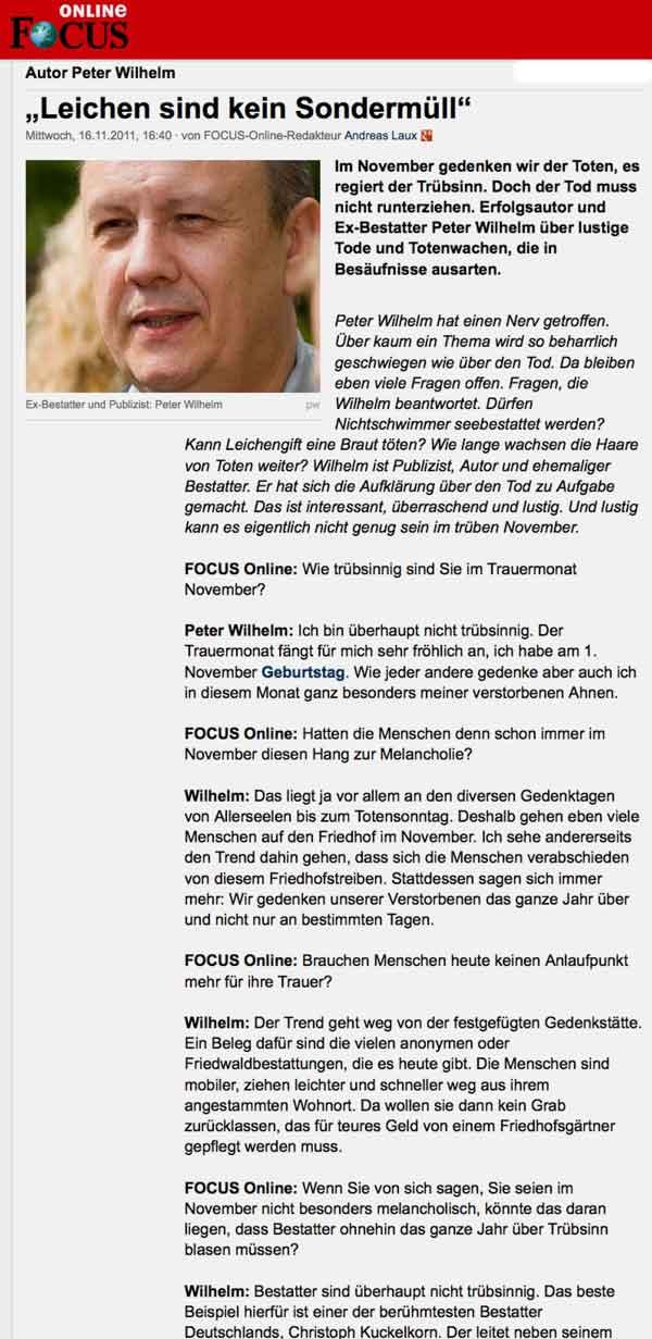 Autor Peter Wilhelm im Focus